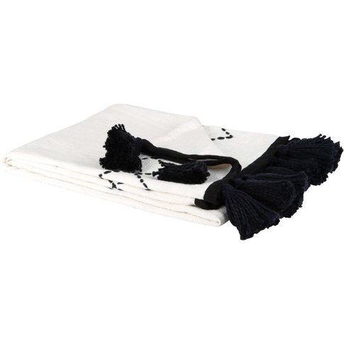 Black Fringed White Cotton Blanket With Print 130x170