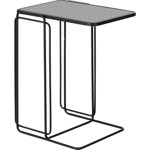Black Glass And Metal Side Table