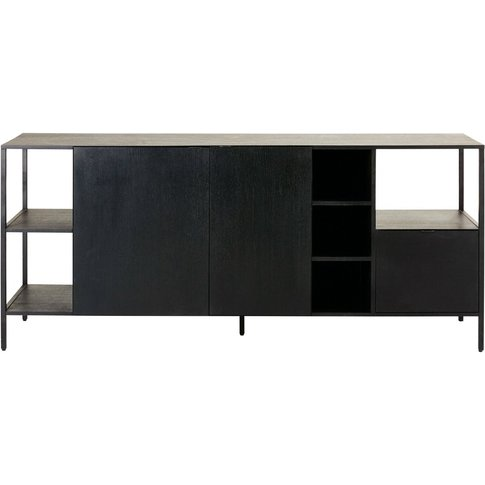 Black Metal 2-Door 1-Drawer Sideboard Opal