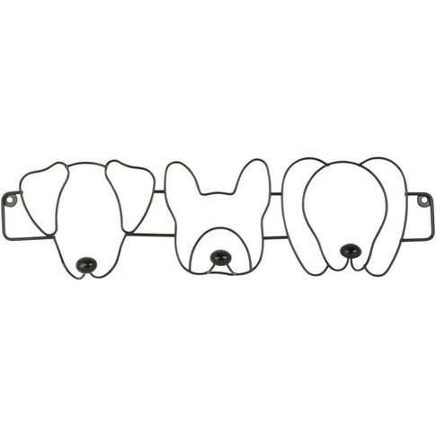 Black Metal 3-Hook Dog Coat Rack