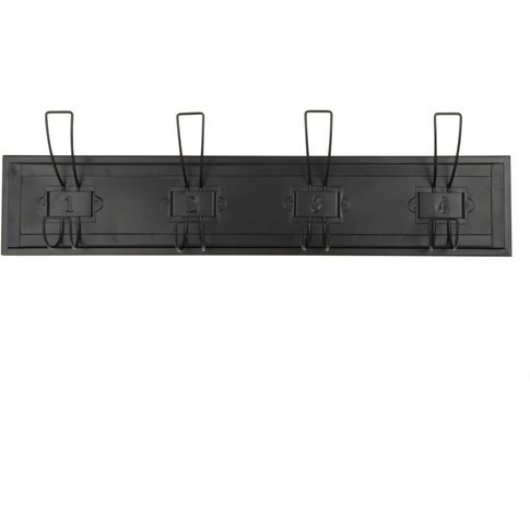 Black Metal 4-Hook Industrial Coat Rack