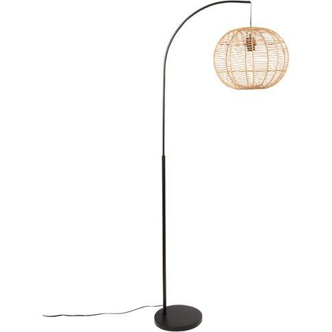 Black Metal And Beige Cotton Floor Lamp H166