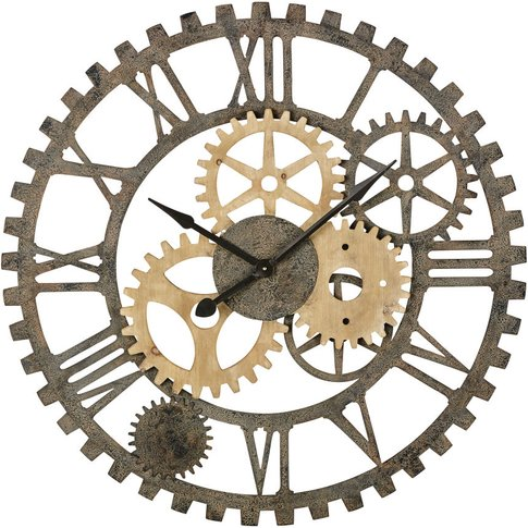 Black Metal And Fir Cog Clock D100