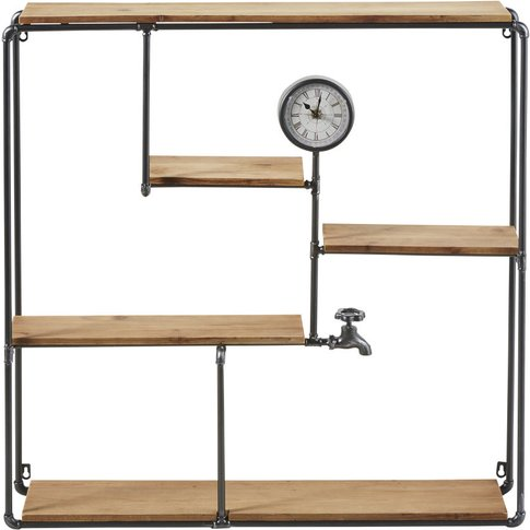 Black Metal And Fir Shelving Unit With Clock