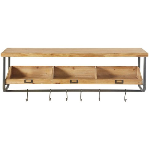 Black Metal and Fir Shelving Unit with Coat Hooks