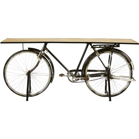 Black Metal And Mango Wood Industrial Bicycle Consol...