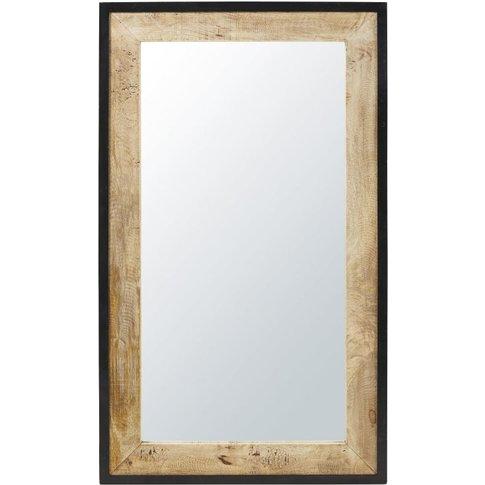 Black Metal And Mango Wood Mirror 70x120