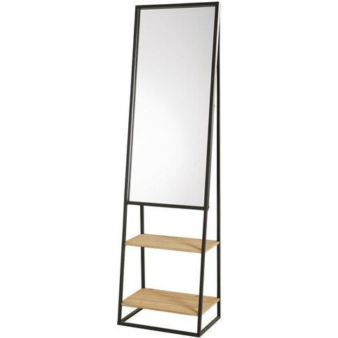 Black Metal And Pine Mirror Shelving Unit 45x161