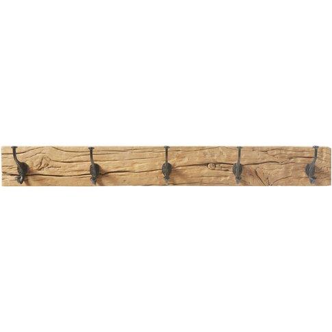 Black Metal And Recycled Wood 5-Hook Coat Rack