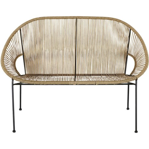 Black Metal And Resin Faux Rattan 2-Seater Garden So...