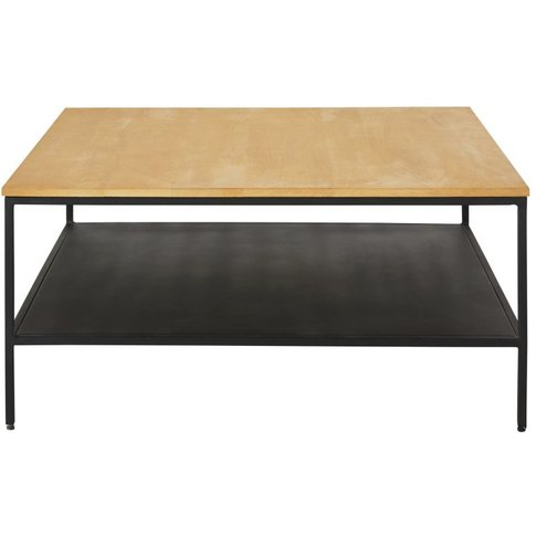 Black Metal And Solid Mango Wood Coffee Table With T...