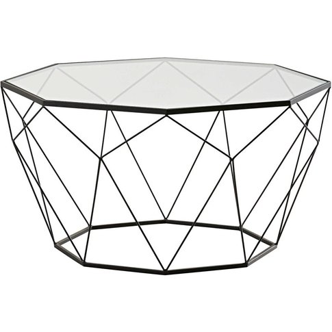 Black metal and tempered glass coffee table Blossom