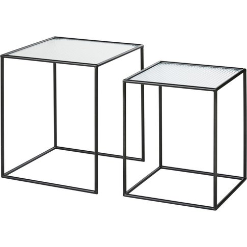 Black Metal And Wired Glass Side Tables (X2)