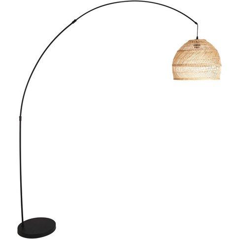 Black metal and woven rattan floor lamp H 191 cm