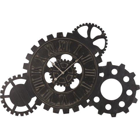 Black Metal Cog Clock 57x85