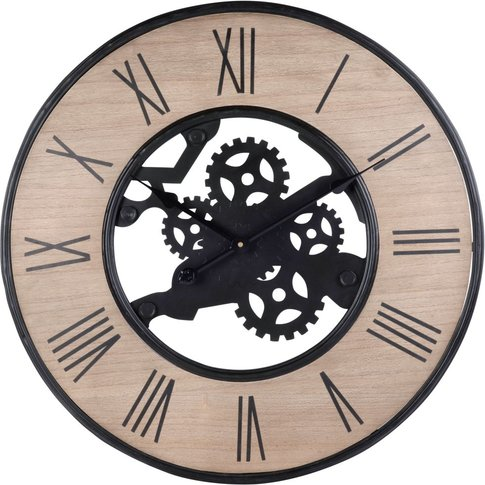 Black Metal Cogs Clock D67