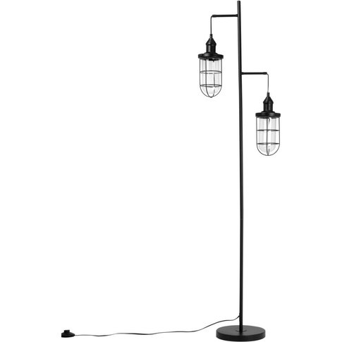 Black Metal Double Floor Lamp H151