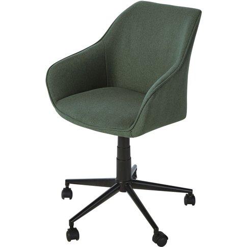 Black Metal Green Wheeled Adjustable Office Chair Ja...