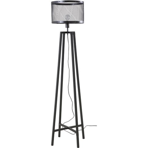 Black Metal Industrial Floor Lamp H 158 cm