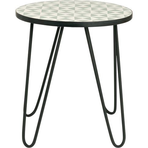 Black Metal Side Table With Two-Tone Graphic Print