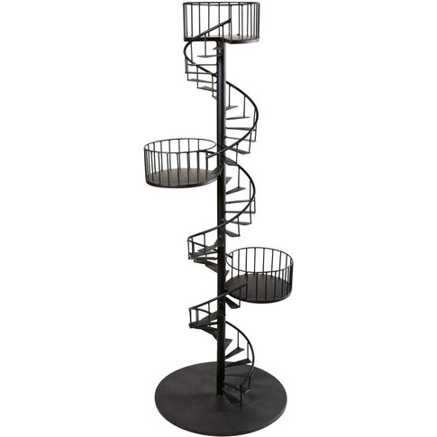 Black Metal Spiral Staircase Shelving Unit