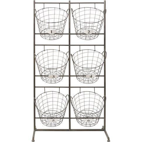 Black Metal Storage Unit With 6 Removable Baskets