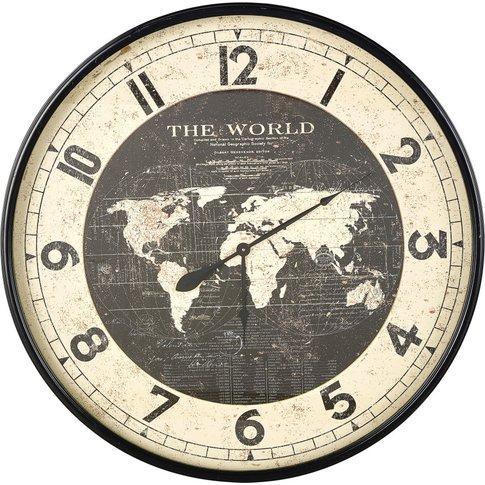 Black Metal World Map Clock D96