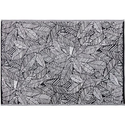 Black Outdoor Rug with White Leaf Print 180x270