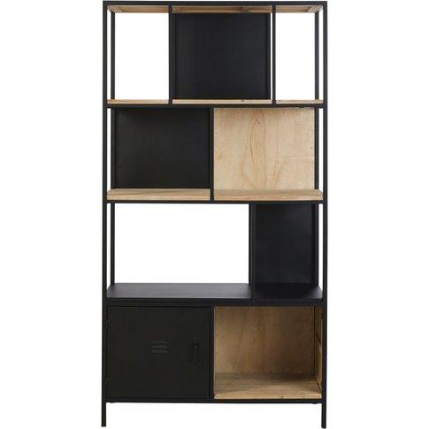 Black Pine and Metal 1-Door Bookcase Rebel