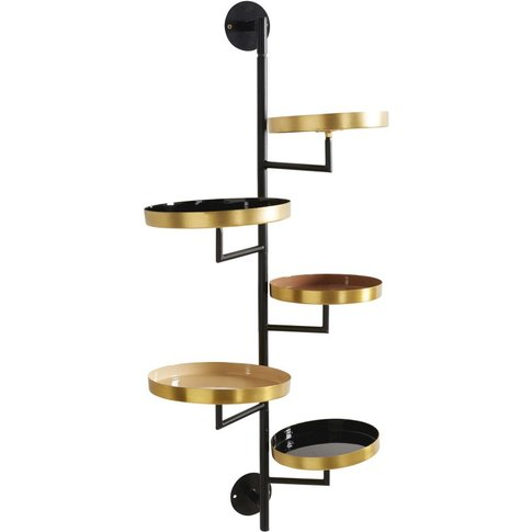 Black, Pink And Copper Metal Shelving Unit