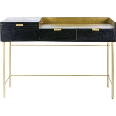 Black Solid Acacia and Gold Metal 3-Drawer Desk Jagger