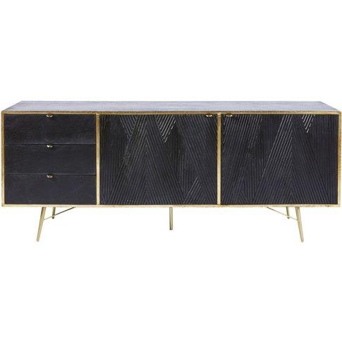 Black Solid Mango Wood 2-Door 3-Drawer Sideboard Jagger