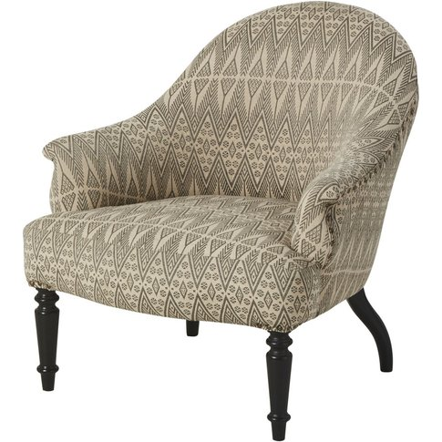 Black Solid Mango Wood And Jacquard Armchair Sully