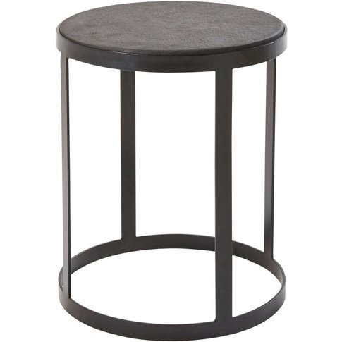 Black Stone and Metal Side Table