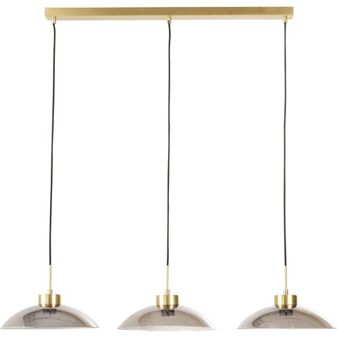 Black-Tinted Glass And Golden Metal Triple Pendant L...