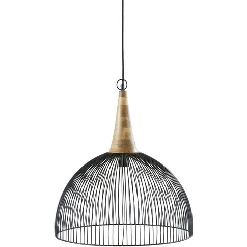 Black Wire And Mango Wood Pendant Light