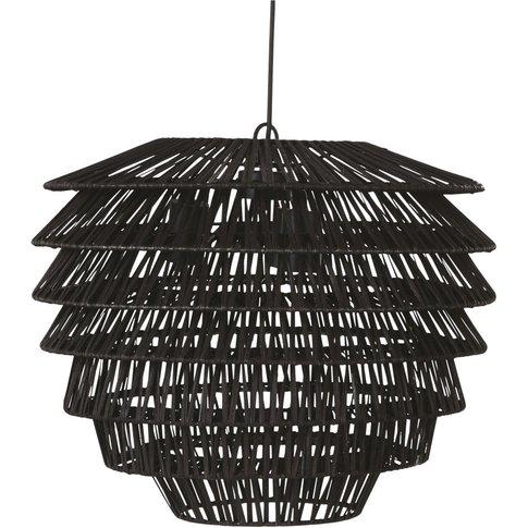 Black Woven Rattan Pendant Light D51