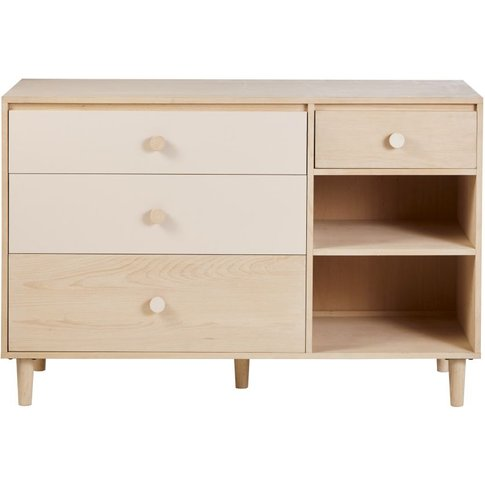 Bleached And Pink 4-Drawer Double Chest Of Drawers Lou