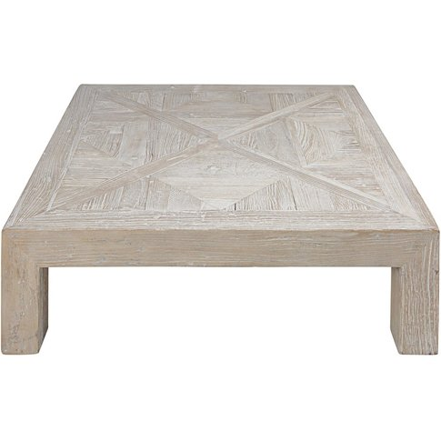 Bleached Recycled Solid Elm Coffee Table Bruges
