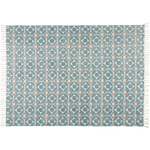 BLOCALIA blue patterned cotton rug 140 x 200