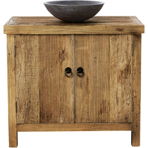 Blu Stone and Recycled Elm Single Sink Bathroom Vani...