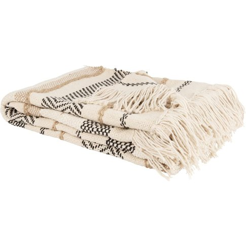 Blue, Brown and White Striped Cotton Throw with Moti...