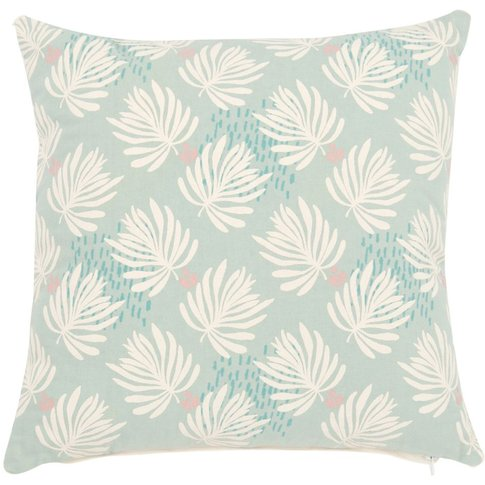 Blue Cotton Cushion Cover With Leaf Print 40x40
