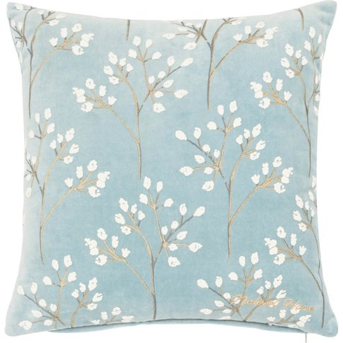 Blue Cotton Cushion Cover With Twig Print 40x40