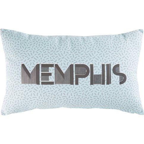 Blue Cushion With Graphic Motifs 30x50