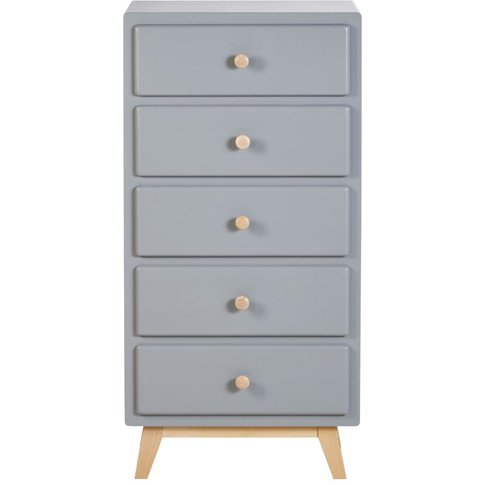 Blue Grey Vintage 5-Drawer Chest Of Drawers Sweet