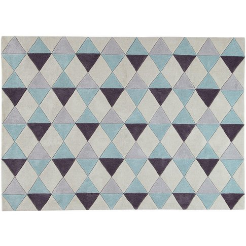 Blue Low Pile Rug with Graphic Motifs 140 x 200