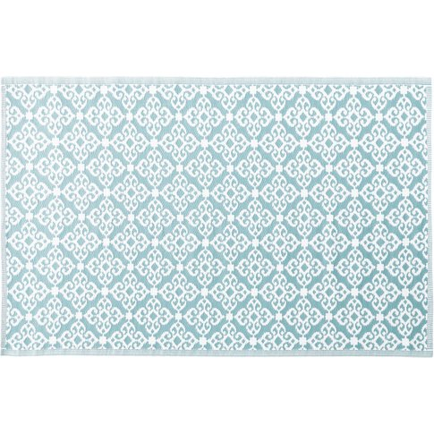 Blue Outdoor Rug With White Graphic Print 140x200