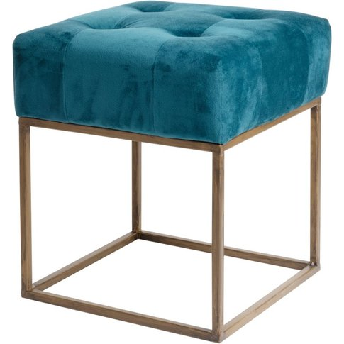 Blue Padded Fabric Stool With Gold Metal Legs