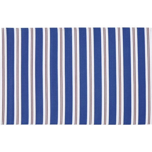 Blue Polypropylene Outdoor Rug With Stripe Print 120...